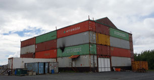 An inventive use of old containers. An unusual building as seen at the seward boat yard in alaska Stock Photo