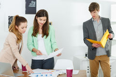 Inventive workers preparing presentation Royalty Free Stock Photos