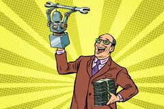 Inventor engineer and robot. New technology progress. Pop art retro vector illustration kitsch vintage vector illustration