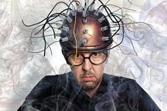 Inventor of a helmet for brain research Stock Photography