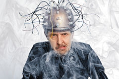 Inventor of a helmet for brain research Royalty Free Stock Image