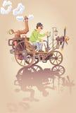 Inventore e la sua automobile del vapore Fotografia Stock Libera da Diritti