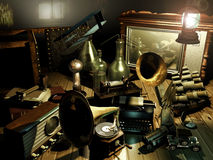 Inventors attic. Attic full of antique objects representing some great human inventions Stock Image