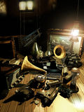 Inventors attic. Attic full of antique objects representing some great human inventions Stock Photos