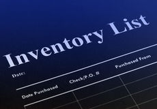 Inventory. List with blue colors and tones Stock Photos