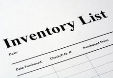 Inventory. List detail with shallow depth of field Royalty Free Stock Photo
