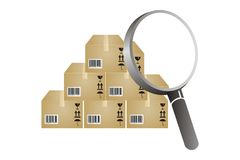 Inventory analyzing. Boxes and magnifying glass to find inventory analyzing Royalty Free Stock Photos