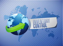 Inventory control globe sign concept Stock Image