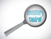 Inventory control magnify glass sign concept Stock Images