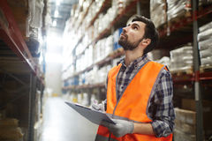 Inventory Control in Warehouse. Portrait of warehouse worker looking up the tall shelves doing inventory control Stock Photo