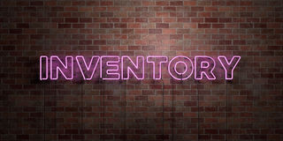 INVENTORY - fluorescent Neon tube Sign on brickwork - Front view - 3D rendered royalty free stock picture Stock Photos