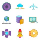 Inventory icons set, cartoon style. Inventory icons set. Cartoon set of 9 inventory vector icons for web isolated on white background Stock Photography