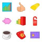 Inventory icons set, cartoon style. Inventory icons set. Cartoon set of 9 inventory vector icons for web  on white background Stock Photo