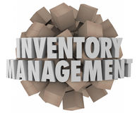 Inventory Management Cardboard Boxes Merchandise Stock Logistics. Inventory Management words in white 3d letters on a ball or sphere of cardboard boxes Stock Photography