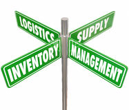 Inventory Management Logistics Supply Control 4 Way Road Signs. Inventory, Management, Logistics and Supply words on 4 green road or street signs pointing way to Stock Photography