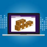 Inventory management logistics system warehouse technology box inside computer software Royalty Free Stock Photo