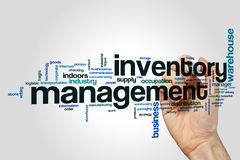 Inventory management word cloud. Concept on grey background Royalty Free Stock Photography