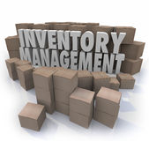 Inventory Management Words Logistic Supply Chain Control Boxes P. Inventory management words in 3d letters surrounded by cardboard boxes full of products in a Stock Photo