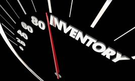 Inventory Product Stock Available Merchandise Speedometer. 3d Illustration Royalty Free Stock Photography