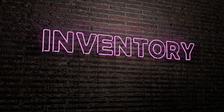 INVENTORY -Realistic Neon Sign on Brick Wall background - 3D rendered royalty free stock image Royalty Free Stock Photo
