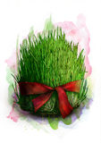 Inverdisca i semi germogliati con il nastro rosso, un simbolo tradizionale del grano di Novruz Bayram - il semeni, schizzo Fotografie Stock