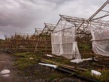 Invernadero de madera de la estructura en granja Foto de archivo libre de regalías