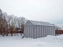 Invernadero en invierno Foto de archivo libre de regalías