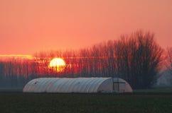 Invernadero en la puesta del sol Fotos de archivo