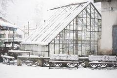 Invernadero viejo, abandonado en la nieve Imágenes de archivo libres de regalías