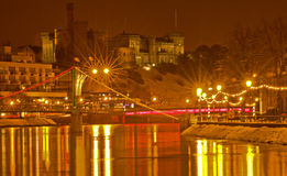 Inverness Castle and the River Ness at night. Royalty Free Stock Images