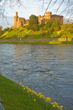 Inverness Castle and the River Ness in Springtime. An image of Inverness Castle in a Spring evening with daffodils in bloom. This image in vertical format shows Stock Photo