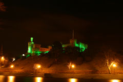 Inverness castle in Scotland. A night view across the River Ness to the lights of Inverness Castle, a famous medieval castle in Scotland Stock Photo