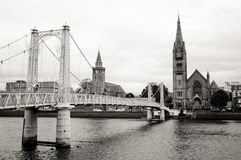 Inverness church and river view from footbridge, scotland Royalty Free Stock Photography