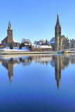 Inverness churches in the snow. Inverness Old High Church in the snow in a sunny winters day Royalty Free Stock Image