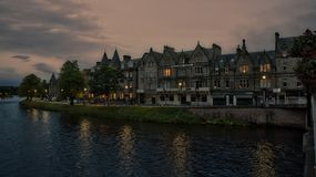 Inverness hotels by night Stock Photo