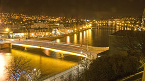 Inverness at night. View from Inverness Castle over the River Ness Royalty Free Stock Photos