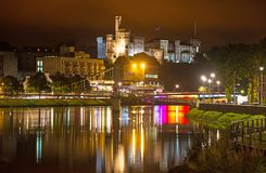 Inverness River Ness And Castle At Night Stock Photo