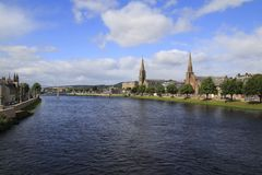 Inverness with the river Ness, panorama, town view. Over the river Royalty Free Stock Images