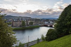 View of the city of Inverness from the banks of the Ness River in Scotland, United Kingdom Stock Photography