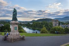 View of the city of Inverness from the banks of the Ness River in Scotland, United Kingdom Stock Photos
