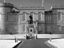 Inverness Scotland Castle IR filter. Inverness Scotland Castle using 680nm IR filter lady taking photo of statue Flora Macdonald Royalty Free Stock Photography