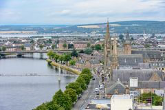 Inverness, Scotland, United Kingdom from above. View of Inverness, Scotland, United Kingdom from above featuring Old High Church and the River Ness.  Taken from Stock Photography