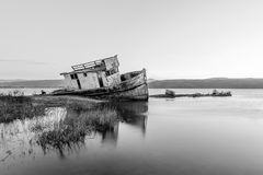 The Inverness Shipwreck at Dawn stock photos