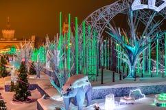 inverno, árvore de Natal, Natal, noite, viva Fotografia de Stock