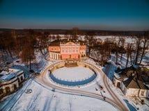 inverno aéreo do Polônia do palácio de Kurozweki foto de stock