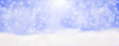 Inverno all'aperto con i fiocchi di neve di caduta, hor panoramico dell'insegna di web illustrazione vettoriale