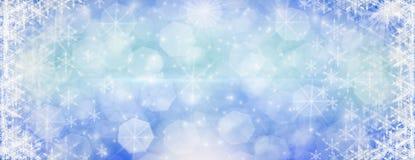 Inverno all'aperto con i fiocchi di neve di caduta, hor panoramico dell'insegna di web immagine stock