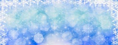 Inverno all'aperto con i fiocchi di neve di caduta, hor panoramico dell'insegna di web immagini stock libere da diritti
