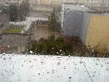 Inverno attraverso vetro Fotografia Stock