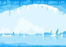 inverno Bachground da caverna de gelo Fotografia de Stock